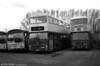 A 1980s Newport trio. Left to right: 42 (VDW 442K), a Metro Scania B40D, 68 (DTG 368V) an MCW Metrobus/H46/31F and former 93 (MDW 393G), a Leyland Atlantean PDR1A/Alexander H43/31F, by now in use as a mobile workshop.