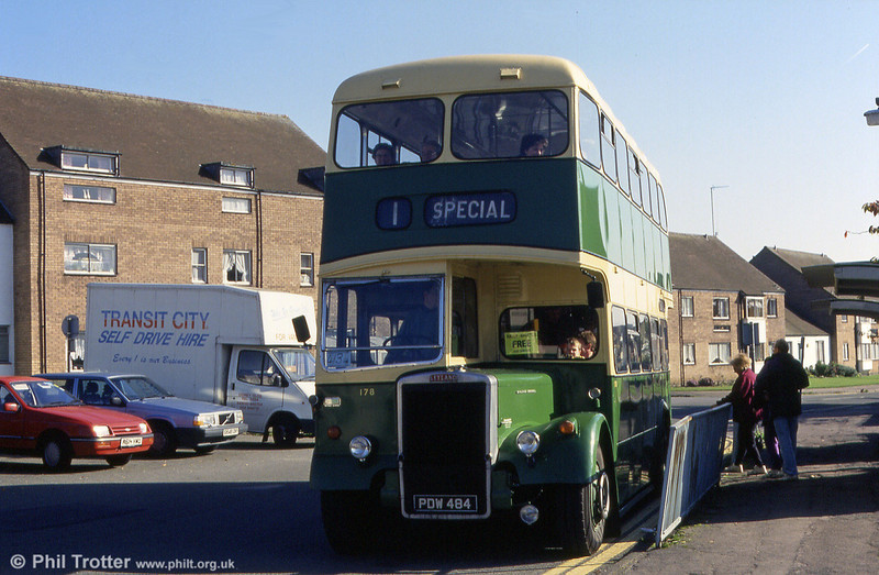 Newport Transport Leyland PD2/Longwell Green 178 (PDW 484) at Lydney in 1993.