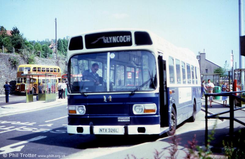 Taff-Ely 14 (NTX 326L), a 1973 Leyland National B43F, seen at Pontypridd.