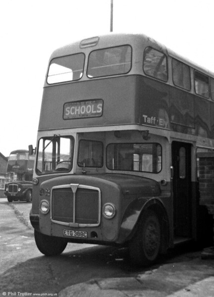 Taff-Ely was the new name for Pontypridd UDC as a result of the 1974 local government reorganisation. Displaying the post 1971 lighter blue livery is 92 (ETG 388C), a Weymann H34/26F bodied AEC Regent V 2MD3RA.
