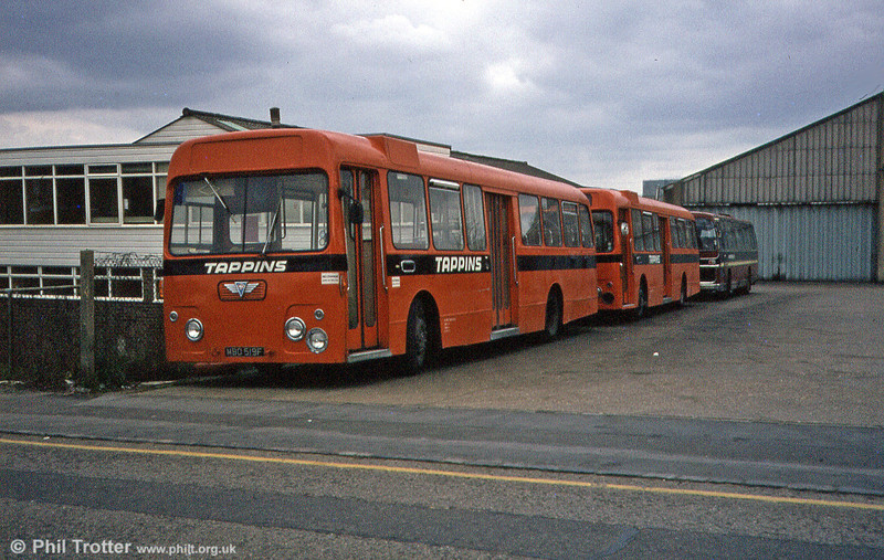 A pair of Tappins ex Cardiff City Swifts, headed by former 519 (MBO 519F) an AEC Swift MP2R/Alexander B47D at the company's Didcot depot.