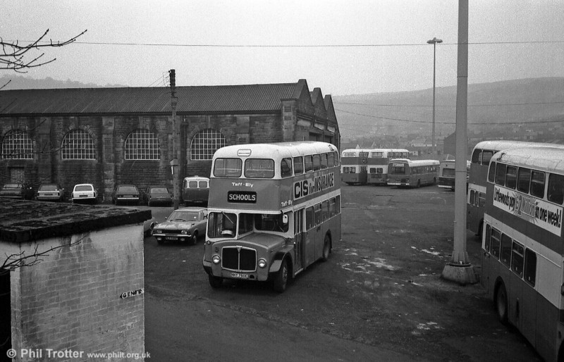 Taff-Ely AEC Regent V no. 3 (NNY 760E) in the depot yard.