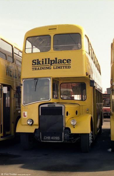 SWT/Skillplace Training Ltd. at Port Talbot ran this former Merthyr Tydfil 1966 Leyland Titan PD3/4 with East Lancs H41/32F CHB 409D.