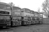 A line up of Scania BR111DH/MCW H44/29F vehicles at the depot. 111/4/8/9/6 (GKG 32/5/9/40/37N).