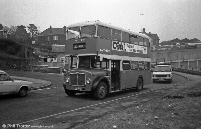 93 (CTX 936D) was a Longwell Green H34/26F bodied AEC Regent V of 1966. The depot can be seen on the hillside behind the bus.