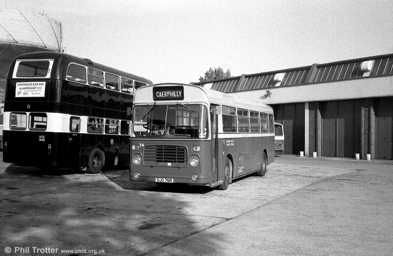 Rhymney Valley 34 (OJD 76R) was a Bristol LH6L/ECW B39F, one of four LHs purchased in 1982 from London Transport, where this vehicle had carried fleet no. BL76.