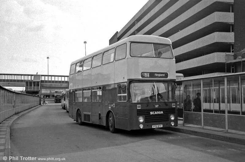 97 (PTG 97Y), one of twenty Scania BR112DH/Marshall H45/31F delivered in 1981 to 1983.