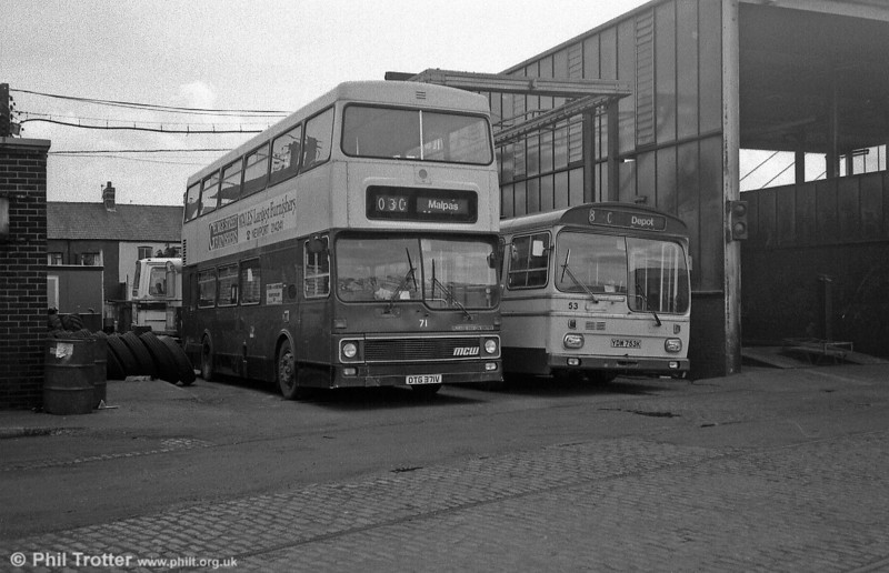 Metrobus/H46/31F 71 (DTG 371V) and Metro Scania/B40D 53 (YDW 753K) at the depot.