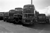 A miscellaneous line-up at Glyntaff Depot, with AEC Regent V 3 (NNY 760E) to the fore.
