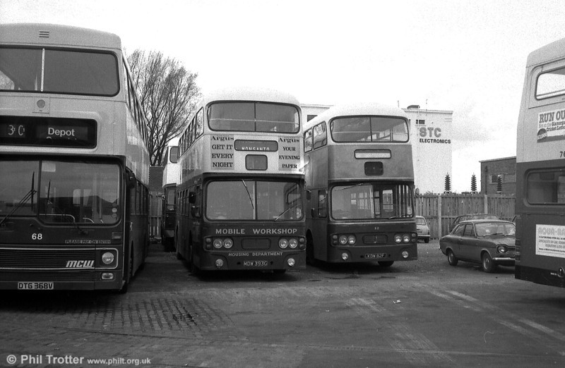 A pair of Newport's favoured Leyland Atlanteans with Alexander H43/31F seen at the depot, both no longer in daily service. They are 93 (MDW 393G) and 82 (KDW 82F).
