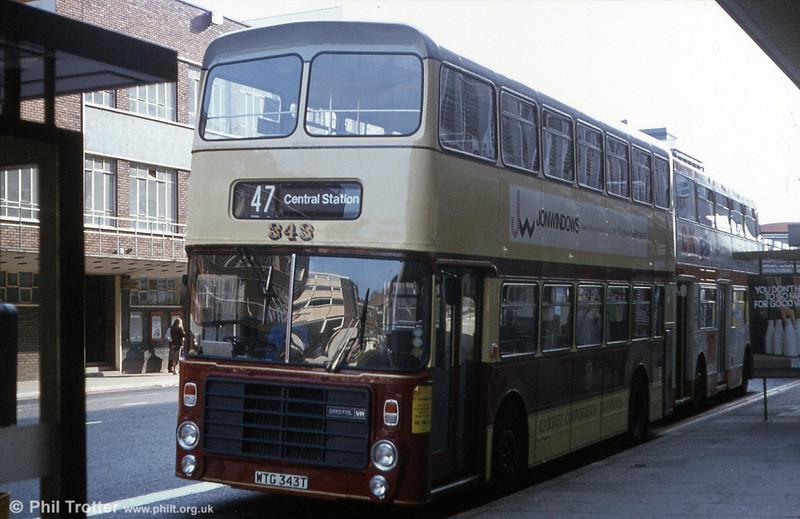 Cardiff 343 (WTG 343T), a Bristol VRT/Alexander H44/31F seen in commemorative tramways livery.