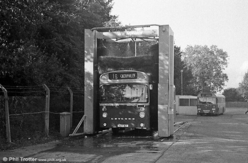Wash time for Rhymney Valley 16 (YBO 16T), a 1979 Leyland Leopard/East Lancs B51F.