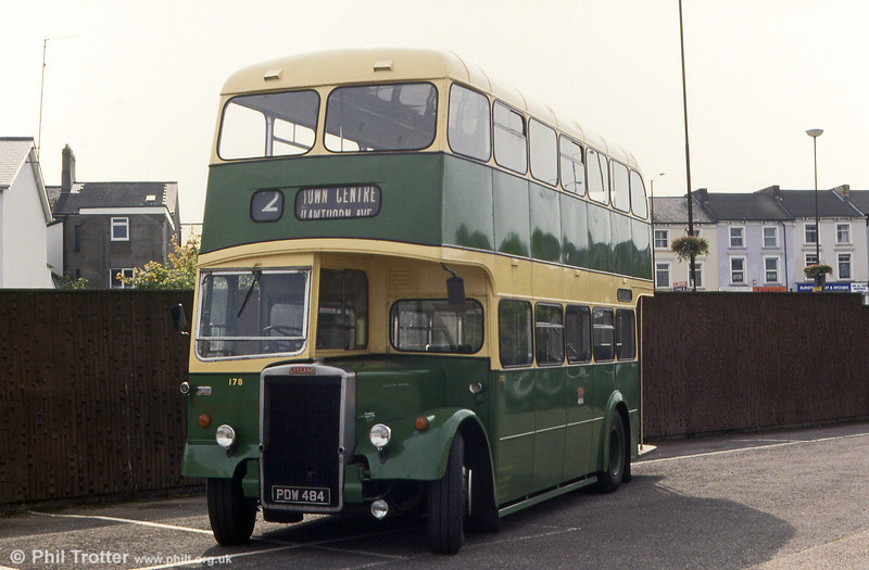 Newport Transport 1958 Leyland PD2/40 with Longwell Green H30/28R no. 178 (PDW 484) photographed in its home town in 1983.