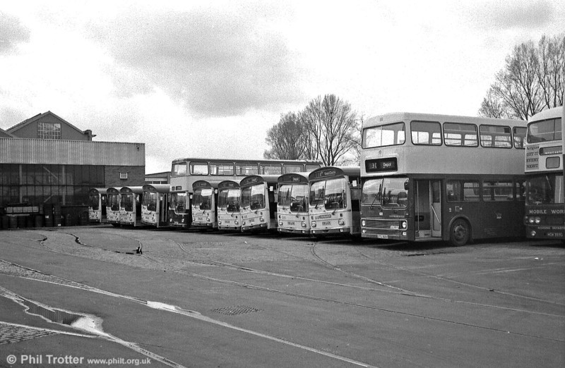 A line up of MCW products at Newport's Corporation Road Depot. Note the surviving tram rails; Newport's tramway ceased in 1937.