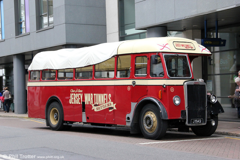 Jersey Bus Tours 1951 Leyland Tiger PS1/Reading B34F (rebuilt Guernseybus OB35F 1989) 22 (J1942), new to Jersey Motor Transport as 44 (J5567), it later passed to Guernseybus as no.16 (2493/12523) then Lothian Mac Tours as 22 (YSL 334) and Ensignbus as 22 (840 XUJ). St. Helier, 17th September 2012.