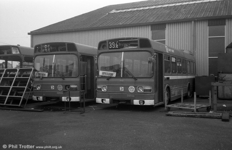 Three of East Kent's short Leyland National B41F were purchased by SWT and used for spares. These were 1541/2/5 (GFN 541/2/5N). This is 1541 and 1545 at Ravenhill, Swansea.