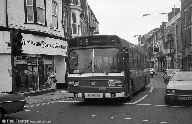 Alder Valley Leyland National B49F 122 (KCG622L) on hire to SWT at Neath.