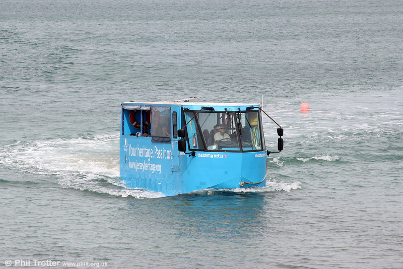Is it a bus, is it a boat? An unusual form of travel is the half hourly amphibious bus service between St. Helier and Elizabeth Island, Jersey. J35514 approaches Elizabeth Island on 22nd September 2012.