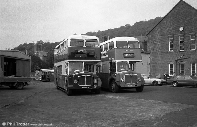 East Kent Regent/Park Royal H40/32F MFN 943F and Weymann bodied Taff-Ely NNY 761E posed at Pontypridd.