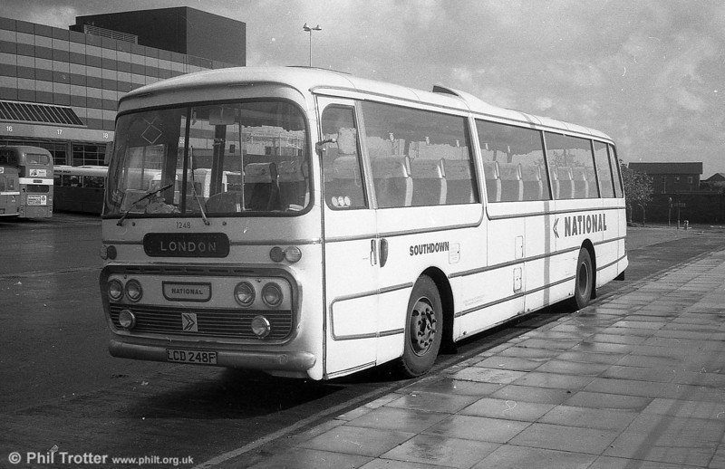 Southdown 1248 (LCD 248F), a 1968 Leyland Leopard/Plaxton C49F seen at Swansea on National Express duplicate work.