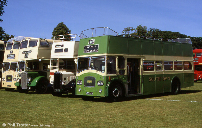 Former Southdown 409 (409 DCD), a Leyland PD3/4 with Northern Counties FCO39/30F at the Mid Hants Rally in 1999.