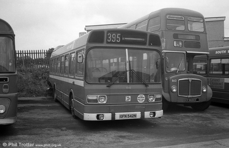 Three of East Kent's short Leyland National B41F were purchased by SWT and used for spares. These were 1541/2/5 (GFN 541/2/5N). This is 1542 at Ravenhill, Swansea.