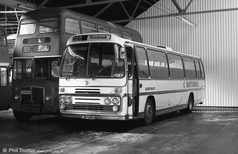 Alder Valley 1063 (CJB 589J), a Bristol RELH6G/Plaxton C51F.