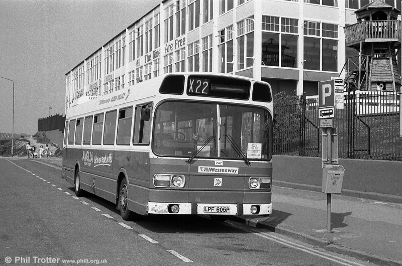 Alder Valley 247 (LPF 605P), a 1976 Leyland National DP45F seen on hire to South Wales Transport at Barry Island.