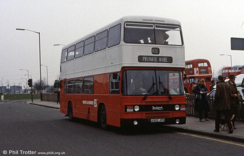 Wilts & Dorset 3902 (A902 JPR), a 1984 Leyland Olympian/ECW CH42/28F.