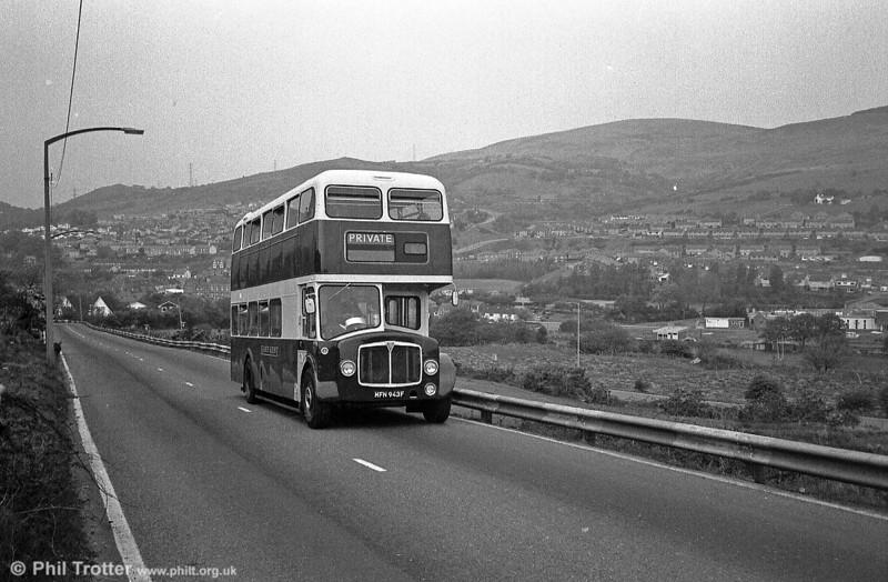 EK AEC Regent V/Park Royal H40/32F on the climb from Port Talbot to Maesteg.