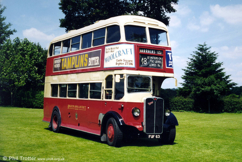 A second view of Brighton, Hove & District 1939 AEC Regent/Weymann 63 (FUF 63) photographed at a Mid Hants Railway rally.