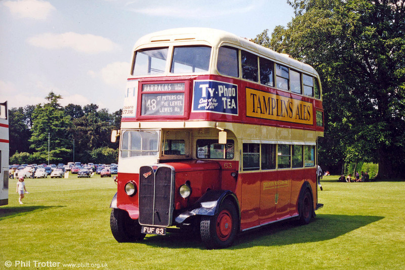 Former Brighton, Hove & District 1939 AEC Regent/Weymann 63 (FUF 63) photographed at a Mid Hants Railway rally.