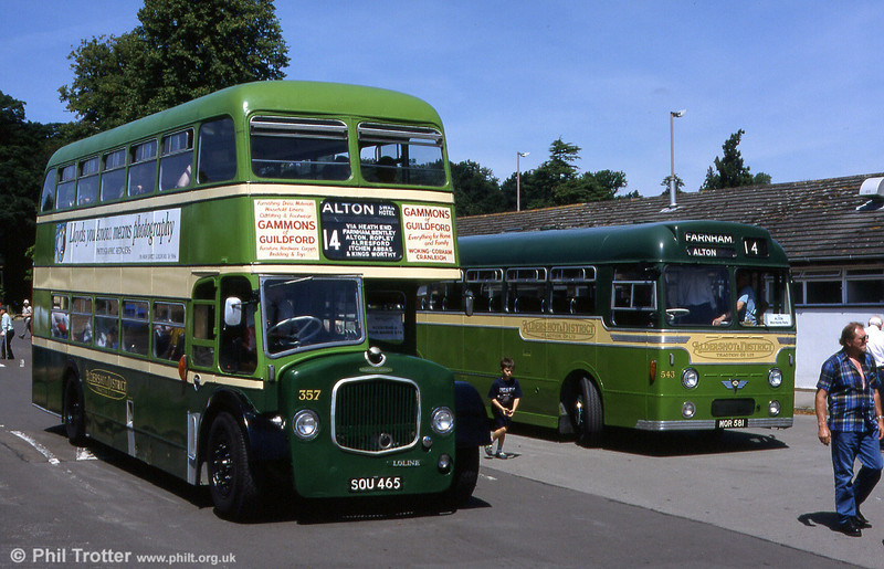 Aldershot & District Dennis Loline/East Lancs H37/31RD 357 (SOU 465) at a Mid Hants Rally, Alton with AEC Reliance 543 in 1999.