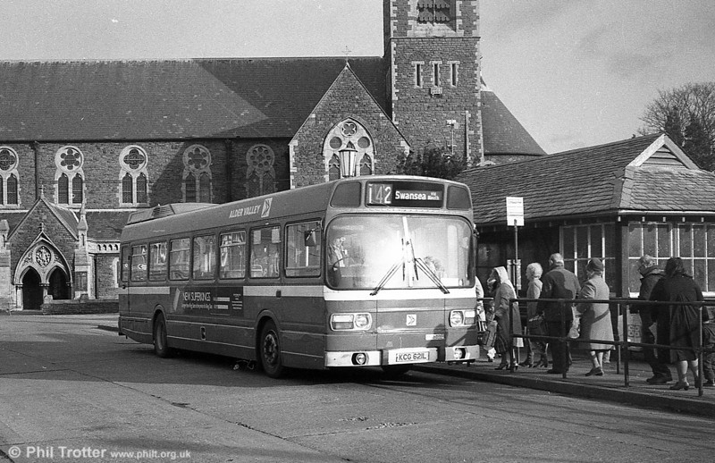 Alder Valley Leyland National B49F 121 (KCG621L) on hire to SWT at Neath.