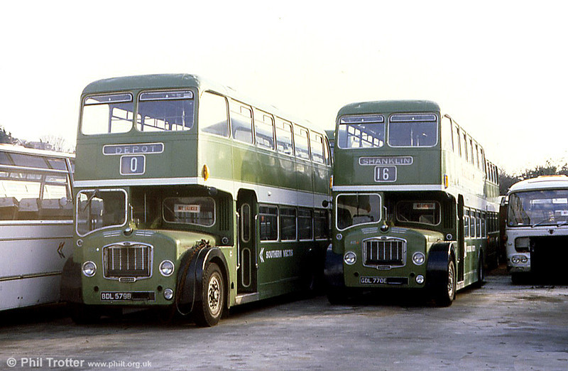 A pair of Southern Vectis Bristol FLFs parked up for the winter. Left is FLF6G 603 (BDL 579B) alongside 615 (BDL 770E) both are ECW H38/32F. These two late survivors were eventually exported to the USA.