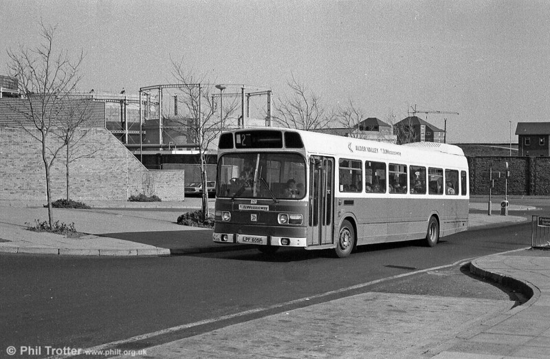 Alder Valley 247 (LPF 605P), a 1976 Leyland National DP45F seen entering the Quadrant Bus Station at Swansea.