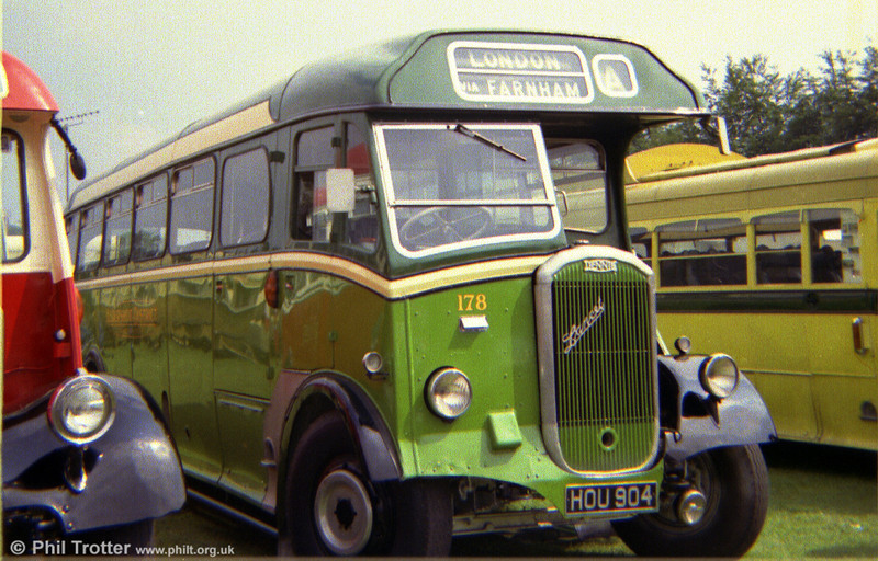 Former Aldershot and District 178 (HOU 904), a Dennis Lancet 3 with Strachan B38R body new in 1950.