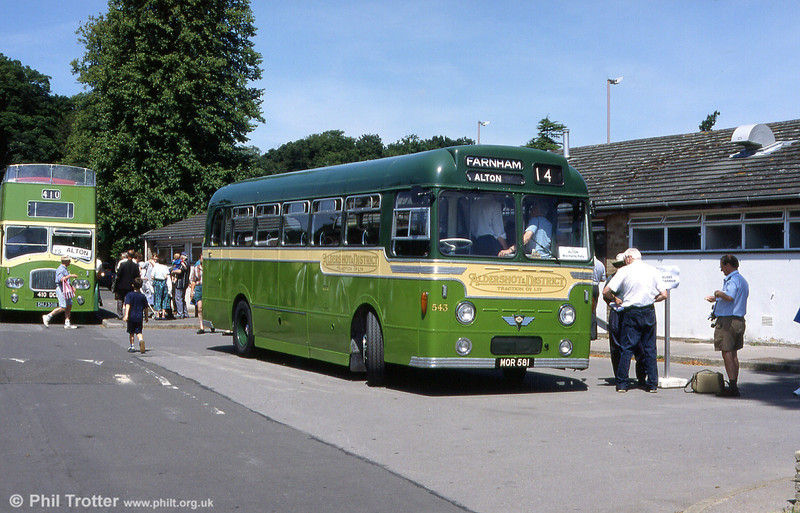 Aldershot & District AEC Reliance MU3RV 543 (MOR 581) at Alton in 1999. It was new in 1954 with a Strachan C41C body and carried fleet number 250. It was rebodied by Weymann as B40F and reappeared in 1967 with the new fleet number 543.