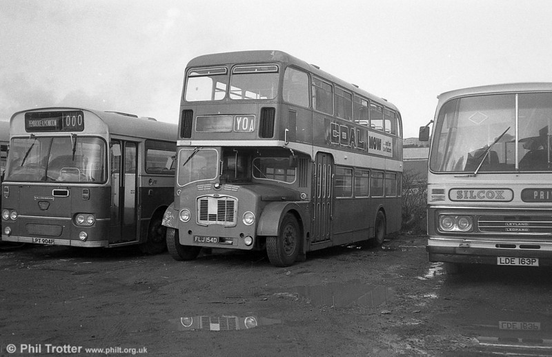 FLJ 154D was a Bristol FLF6B/ECW H38/32F new to Hants & Dorset as no. 1537 in 1966 and acquired by Silcox, Pembroke Dock, in 1980.