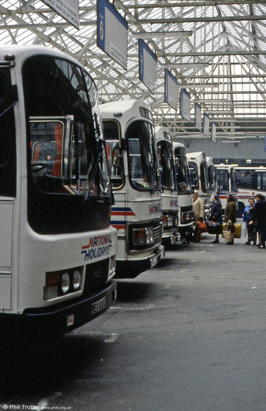 A busy scene at London Victoria Coach Station in the mid 1980s.