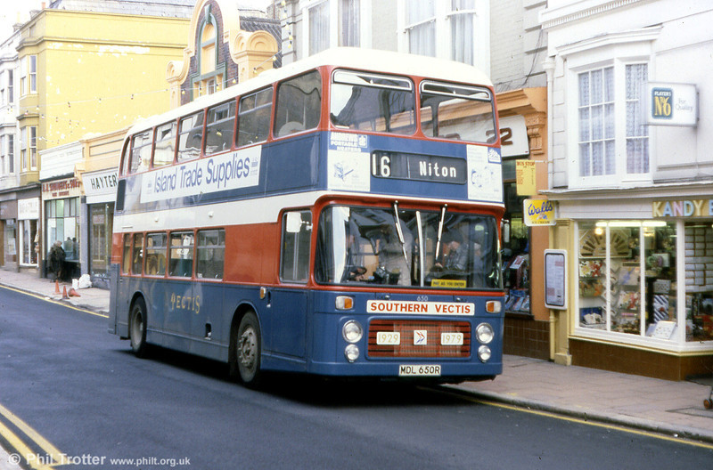 Seen here in a commemorative livery is Southern Vectis 650 (MDL 650R), a Bristol VRT/ECW H43/31F.