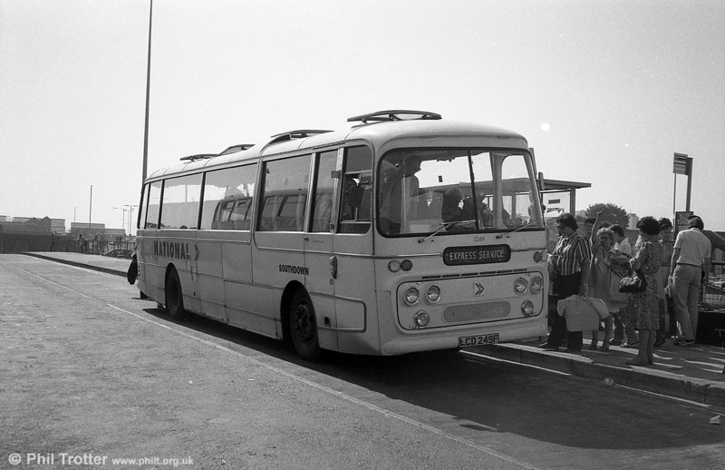 Southdown 1249 (LCD 249F), a 1968 Leyland Leopard/Plaxton C49F seen at Swansea on National Express duplicate work.