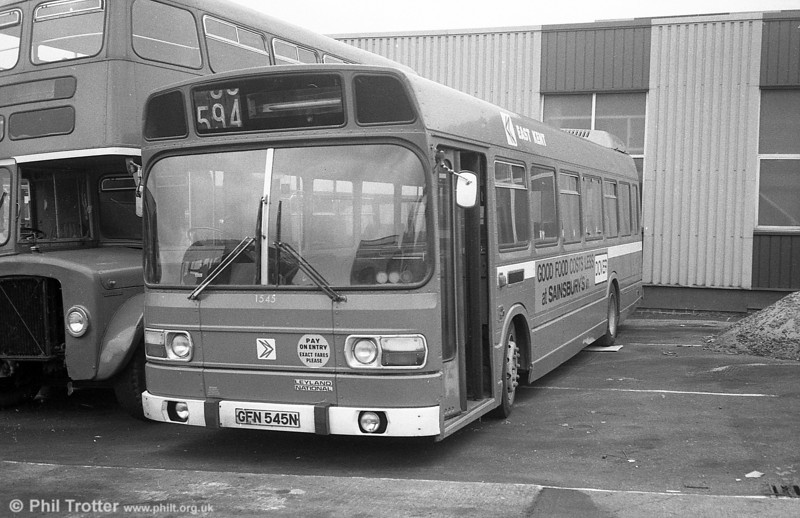 Three of East Kent's short Leyland National B41F were purchased by SWT and used for spares. These were 1541/2/5 (GFN 541/2/5N). This is 1545 at Ravenhill, Swansea.