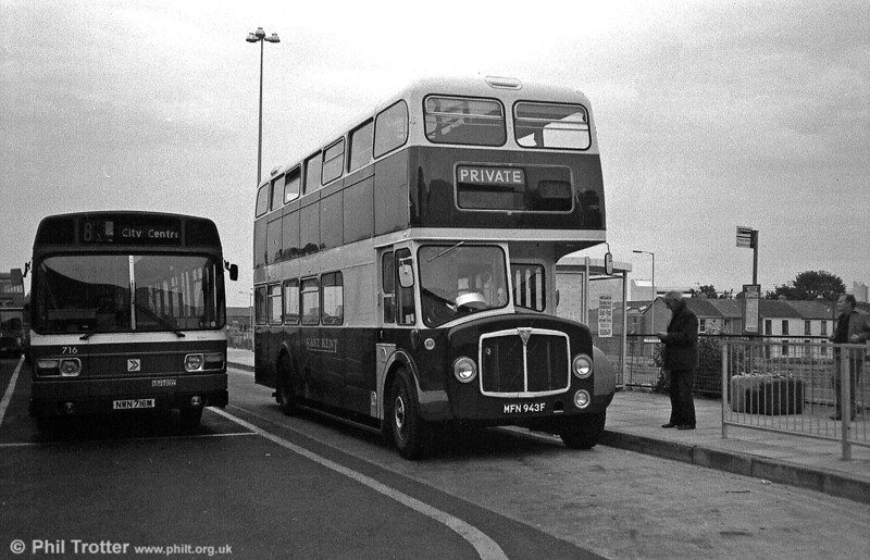 Seen at Swansea during a tour of South Wales, East Kent MFN 943F is a 1967 AEC Regent V with Park Royal H40/32F.