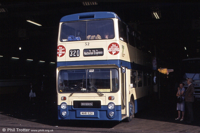 Thamesdown 52 (MHR 52X), a Dennis Dominator/Northern Counties H43/31F photographed at Birmingham Digbeth Coach Station in August 1984. The bus is apparently on National Express relief work to Sheffield and Leeds!