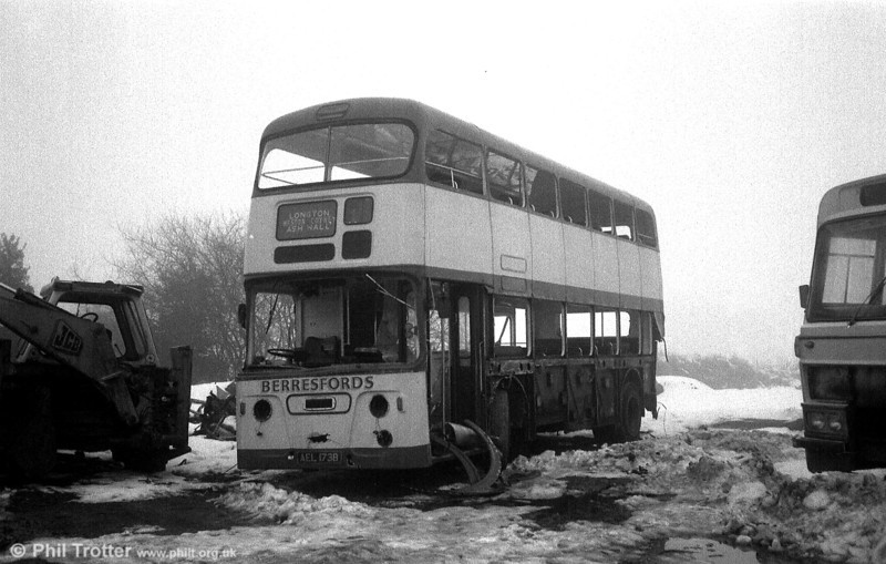 Former Bournemouth 173 (AEL 173B), a 1964 Leyland Atlantean PDR1/Weymann H43/31F, seen in a derelict state at the premises of Berresfords, Cheddleton, Staffordshire.