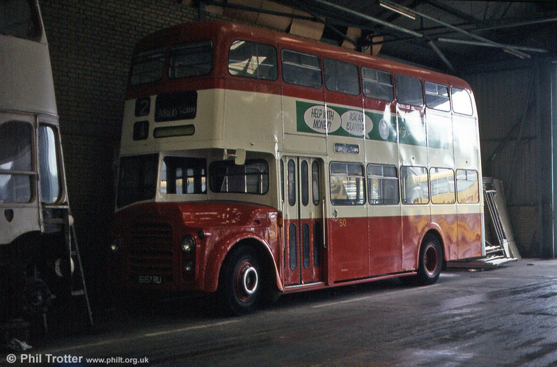 Originally Bournemouth 167 (6167 RU), this Leyland PD3/Weymann H39/29F is seen in its guise as Isle of Man Road Services no. 50.