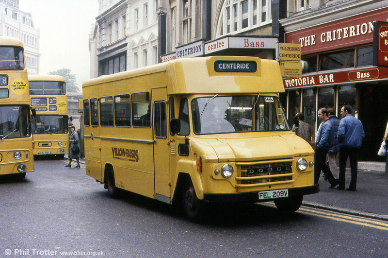 Bournemouth M9 (FEL 209V), a Dodge battery powered vehicle with a Rootes B18F body, new in 1979. Seen here in service on a town centre service, the vehicle has since been preserved.