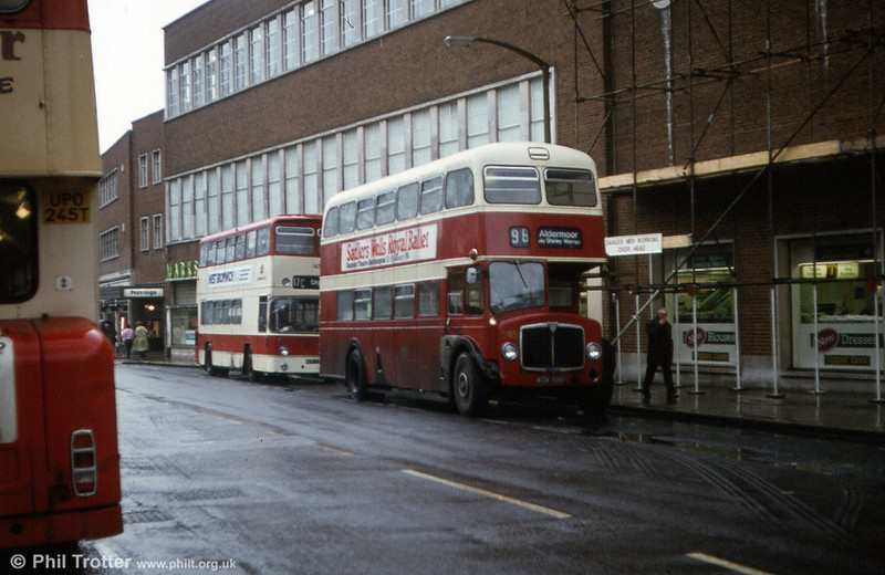 A grubby 398 (KOW 906F), with Atlantean 142 close behind.