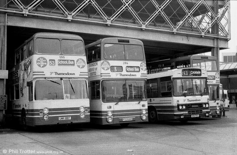 Thamesdown 199 (UMR 199T) a 1978 Leyland Fleetline/ECW H43/31F and 206 (PTD 644S), a former Lancashire United Leyland Fleetline/Northern Counties H43/32F.